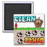 Säubern Sie schmutzigen Spülmaschinenmagneten Magnete