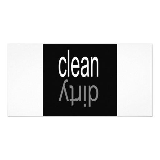 Säubern Sie,/schmutziger Spülmaschinen-Magnet Fotokartenvorlage