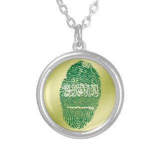 Saudische Touchfingerabdruckflagge Halskette Mit Rundem Anhänger