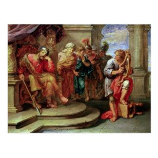 Saul, der auf David spielt die Harfe hört Postkarte