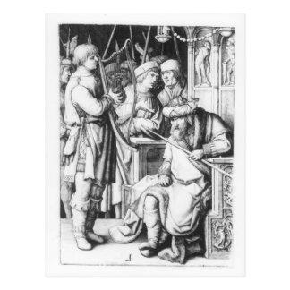 Saul, der zu David-Spiel die Harfe hört Postkarte