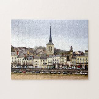 Saumur Fluss-Bank-Szenen-Foto-Puzzlespiel mit Puzzle