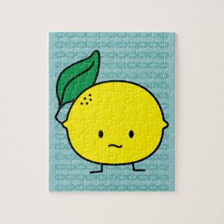 Saure gelbe Zitronenblatt-Zitrusfrucht lemony Puzzle