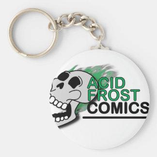 Saurer Frost-Comic-Schädel-grundlegender Knopf Schlüsselanhänger