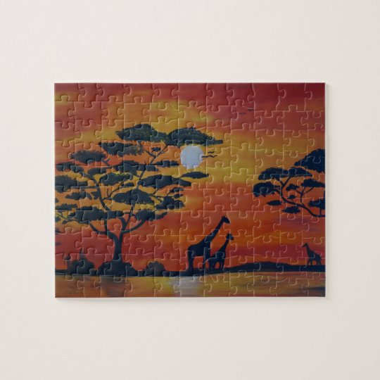 Savanna with giraffe puzzle