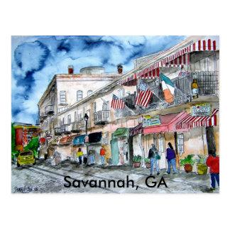Savannah River Straßen-Malereipostkarte, GA Postkarte