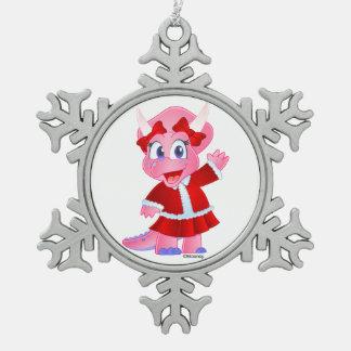 Savanne Dino in der Weihnachtsausstattung - Schneeflocken Zinn-Ornament