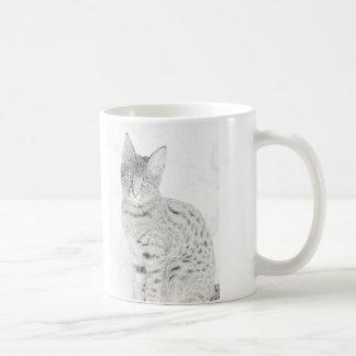 Savanne-Katzen-Zeichnen Kaffeetasse
