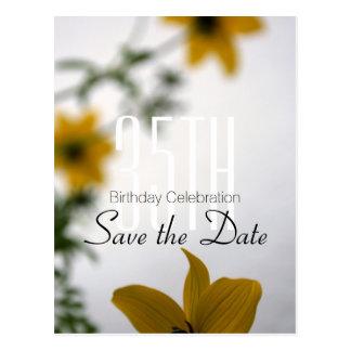 Save the Date 35. Geburtstag - Frühlings-Blumen - Postkarte
