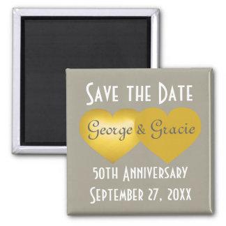 Save the Date 50. Jahrestagsgoldherzen Quadratischer Magnet
