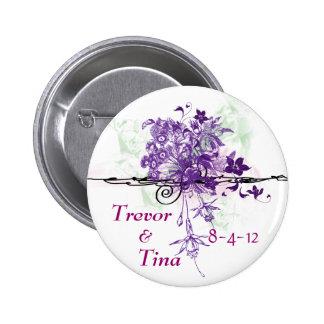 Save the Date abstraktes Blumenblumenstrauß-rundes Runder Button 5,7 Cm