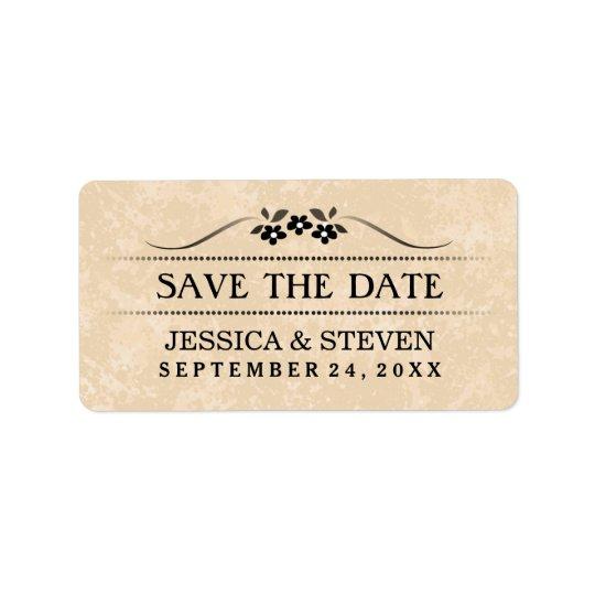 Save the Date Aufkleber - Goldextravagantes Blumen Adressaufkleber