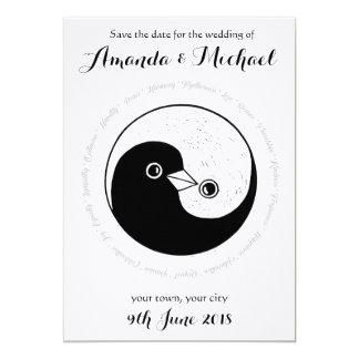 SAVE THE DATE b/w YinYang Tauben-Hochzeitskarte Karte