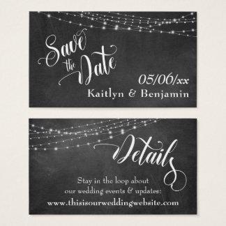 Save the Date beleuchtet Tafel Hochzeits-Details Visitenkarte