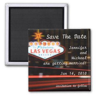 Save the Date Bestimmungsort-Las- Vegashochzeit Quadratischer Magnet