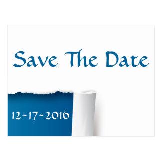 Save the Date blaue und weiße Foto-Postkarte