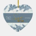 """""""Save the Date"""" blaue weiße Orchidee Weihnachtsbaum Ornamente"""