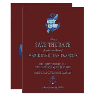 Save the Date blauer nautischanker 12,7 X 17,8 Cm Einladungskarte