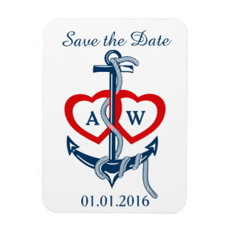 Save the Date blaues Nautischrot Magnet Ankers