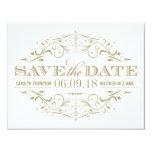Save the Date   blüht antikes Gold und Weiß Einladungskarte