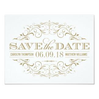 Save the Date   blüht antikes Gold und Weiß Karte