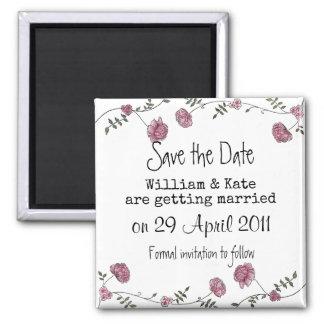 Save the Date Blumenmagnet Quadratischer Magnet