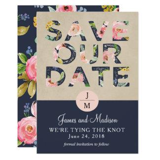 Save the Date Blumenmarine und Rosa 12,7 X 17,8 Cm Einladungskarte