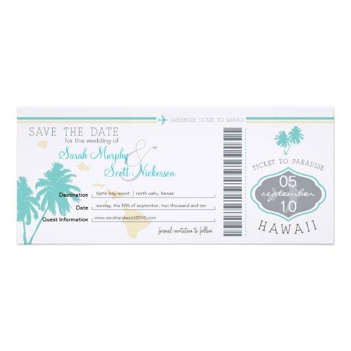 Save the Date Boarding-Durchlauf nach Hawaii Individuelle Einladungen