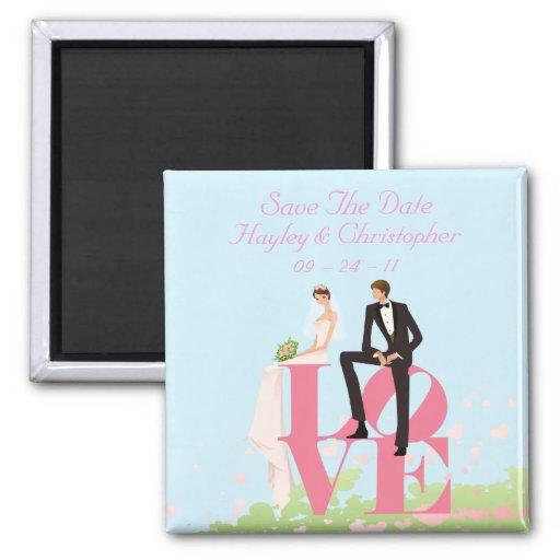 Save the Date Braut u. Bräutigam, die auf Liebe si Kühlschrankmagnete