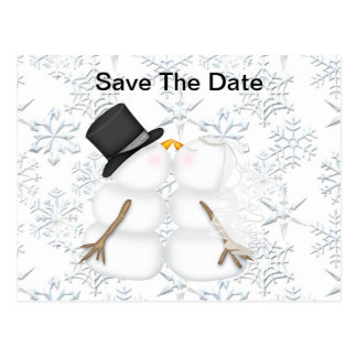 Save the Date BRAUT u. BRÄUTIGAM Snowman Postkarte