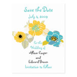 Save the Date coole mit Blumenfarben der Postkarte