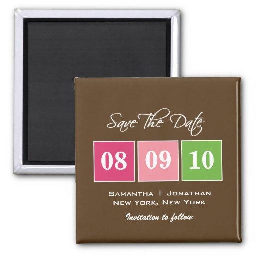 Save the Date: Datums-Blöcke - Fuchsien-Grün Magnets
