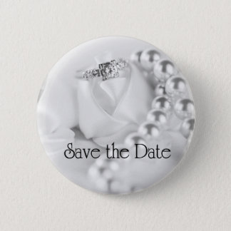 Save the Date Diamant-Verlobungs-Ring Runder Button 5,1 Cm