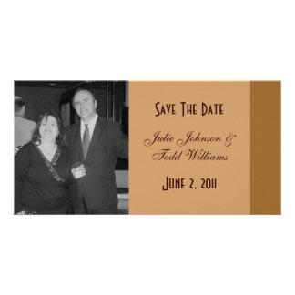 Save the Date einfaches Braun Fotokartenvorlage
