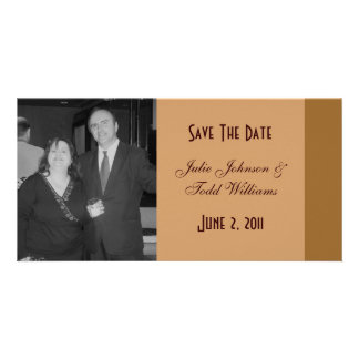 Save the Date einfaches Braun Photo Karten Vorlage