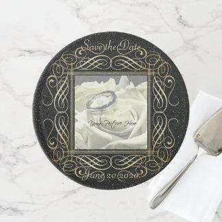 Save the Date elegante Goldfolien-mit Filigran Tortenplatte