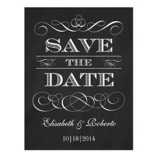 Save the Date elegante Vintage Tafel-Art Postkarte