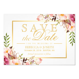 Save the Date elegantes Chic-Rosa-Blumengoldrahmen Karte