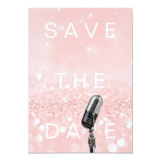 Save the Date erröten Rosa Rosen-Glitter Microfone 12,7 X 17,8 Cm Einladungskarte