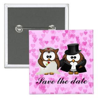 Save the Date Eule Quadratischer Button 5,1 Cm