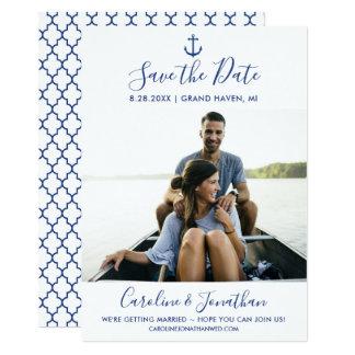 Save the Date Foto-klassischer blauer Seeanker Karte