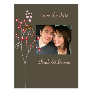 Save the Date Fotopostkarten, Liebevögel Postkarte