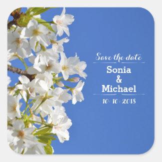 Save the Date Frühlings-Blüten Quadratischer Aufkleber