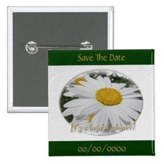 Save the Date Gänseblümchen-Wildblume-Brautparty Quadratischer Button 5,1 Cm