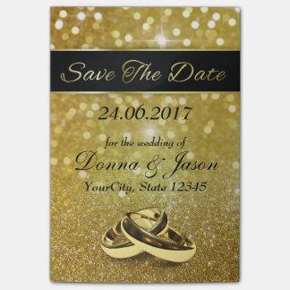 Save the Date Goldhochzeits-Ringe - Posten-it® Post-it Klebezettel