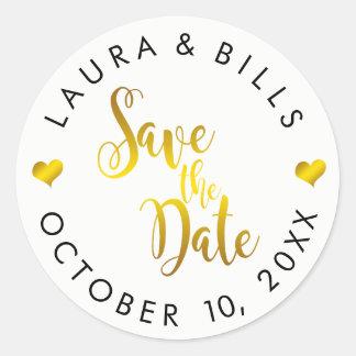 Save the Date GoldLiebe-Glitter-Hochzeit Runder Aufkleber