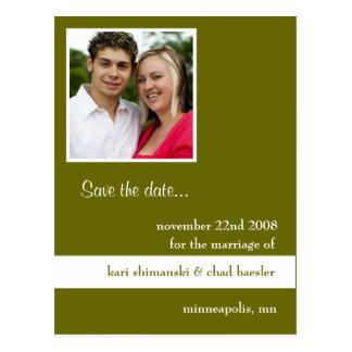 Save the Date Grün Postkarte