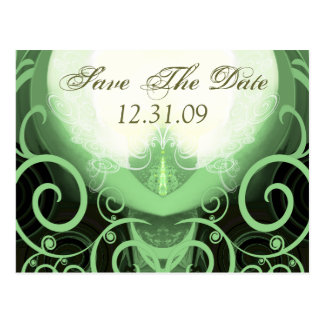 Save the Date - grüne Cala-Lilie Postkarte