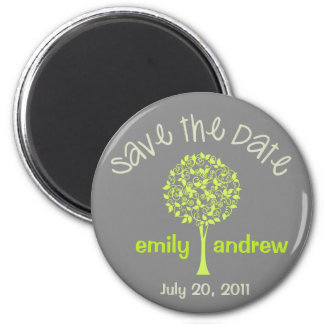 Save the Date grüner/grauer Baum-Magnet Magnets