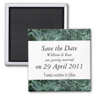 Save the Date grüner Marmormagnet Quadratischer Magnet